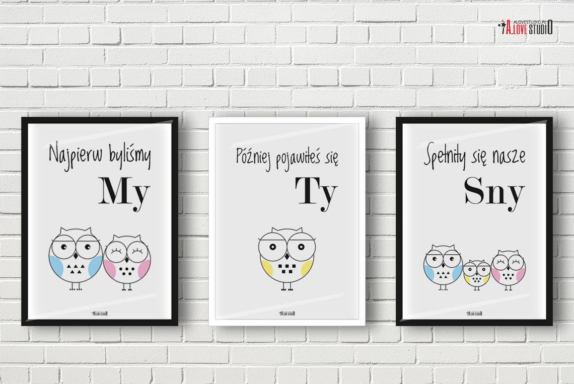 obrazki plakaty do pokoju dziecięcego sowy zestaw