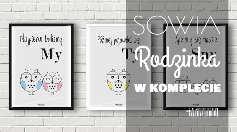 plakat do pokoju dziecięcego sowy sowia rodzina