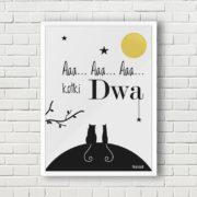 plakat dekoracje do pokoju dziecięcego aaa kotki dwa a