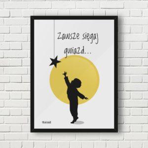 plakat do pokoju dziecięcego chłopca sięgaj gwiazd a