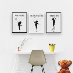 Plakaty dekoracje do pokoju dziecięcego chłopca mierz wysoko c