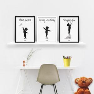 plakaty dla dzieci do pokoju chłopca mierz wysoko b