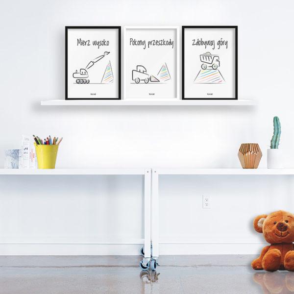 Plakaty dla dzieci do pokoju chłopca mierz wysoko - koparki a