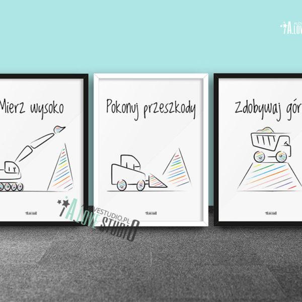 Plakaty dla dzieci do pokoju chłopca mierz wysoko - koparki b