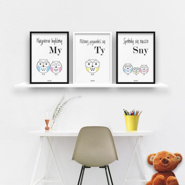 plakaty dla dzieci do pokoju chłopca sowia rodzina 2 plus 1 b
