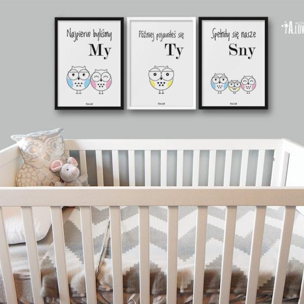 plakaty dla dzieci do pokoju chłopca sowia rodzina 2 plus 1 e