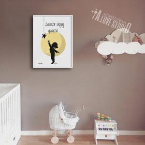 plakaty dla dzieci do pokoju dziewczynki księżyc gwiazda alovestudio - b