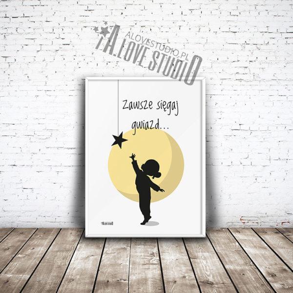 plakaty dla dzieci do pokoju dziewczynki księżyc gwiazda alovestudio