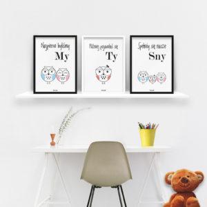 plakaty dla dzieci do pokoju dziewczynki sowia rodzina 2 plus 1 b