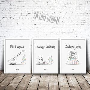 Plakaty do pokoju dziecięcego chłopca mierz wysoko koparki alovestudio