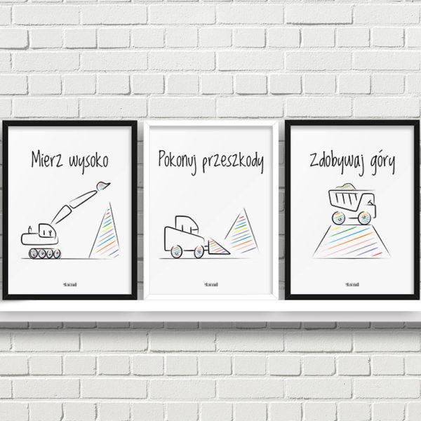 Plakaty do pokoju dziecięcego chłopca mierz wysoko koparki a