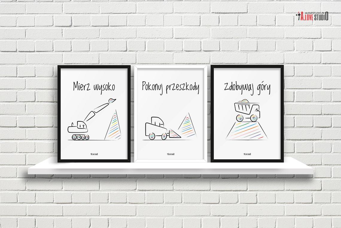 Plakaty Do Pokoju Dzieciecego Chlopca Mierz Wysoko Koparki D