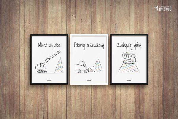 Plakaty do pokoju dziecięcego chłopca mierz wysoko koparki b