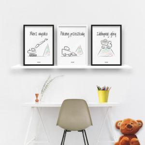plakaty do pokoju chłopca mierz wysoko - koparki