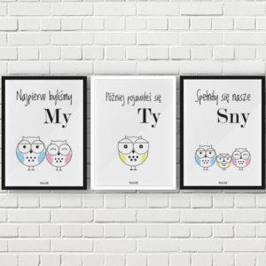 plakaty do pokoju chłopca sowia rodzina 2 plus 1
