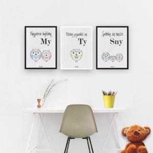 plakaty do pokoju chłopca sowia rodzina 2 plis 1 b