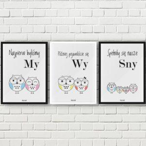 plakaty do pokoju dziecięcego chłopca sowia rodzina 2 plus 2 syn córka a