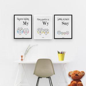 plakaty do pokoju dziecięcego chłopca sowia rodzina 2 plus 2 syn syn c