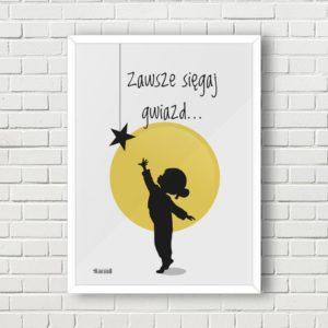 Plakaty do pokoju dziecięcego dziewczynki sięgaj gwiazd a