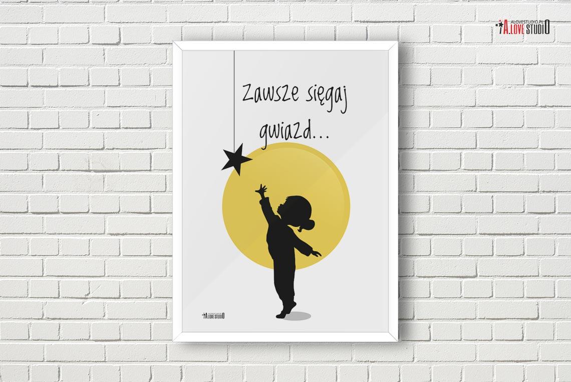 Plakaty Do Pokoju Dzieciecego Dziewczynki Siegaj Gwiazd A