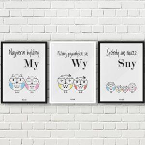 plakaty do pokoju dziecięcego dziewczynki sowia rodzina 2 plus 2 córka córka a