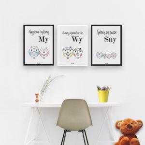 plakaty do pokoju dziecięcego dziewczynki sowia rodzina 2 plus 2 córka córka c