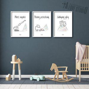 plakaty do pokoju dziecka chłopca mierz wysoko koparki