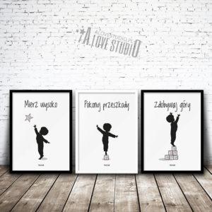 Plakaty obrazki dla dzieci do pokoju chłopca mierz wysoko 1