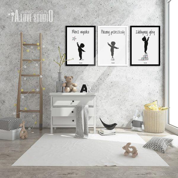 Plakaty obrazki dla dzieci do pokoju chłopca mierz wysoko alovestudio 13
