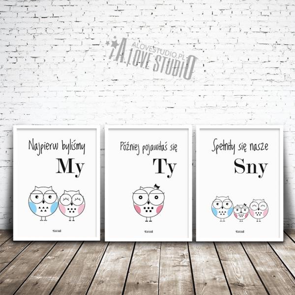 plakaty obrazki dla dzieci sowy sówki rodzina córeczka alovestudio pl