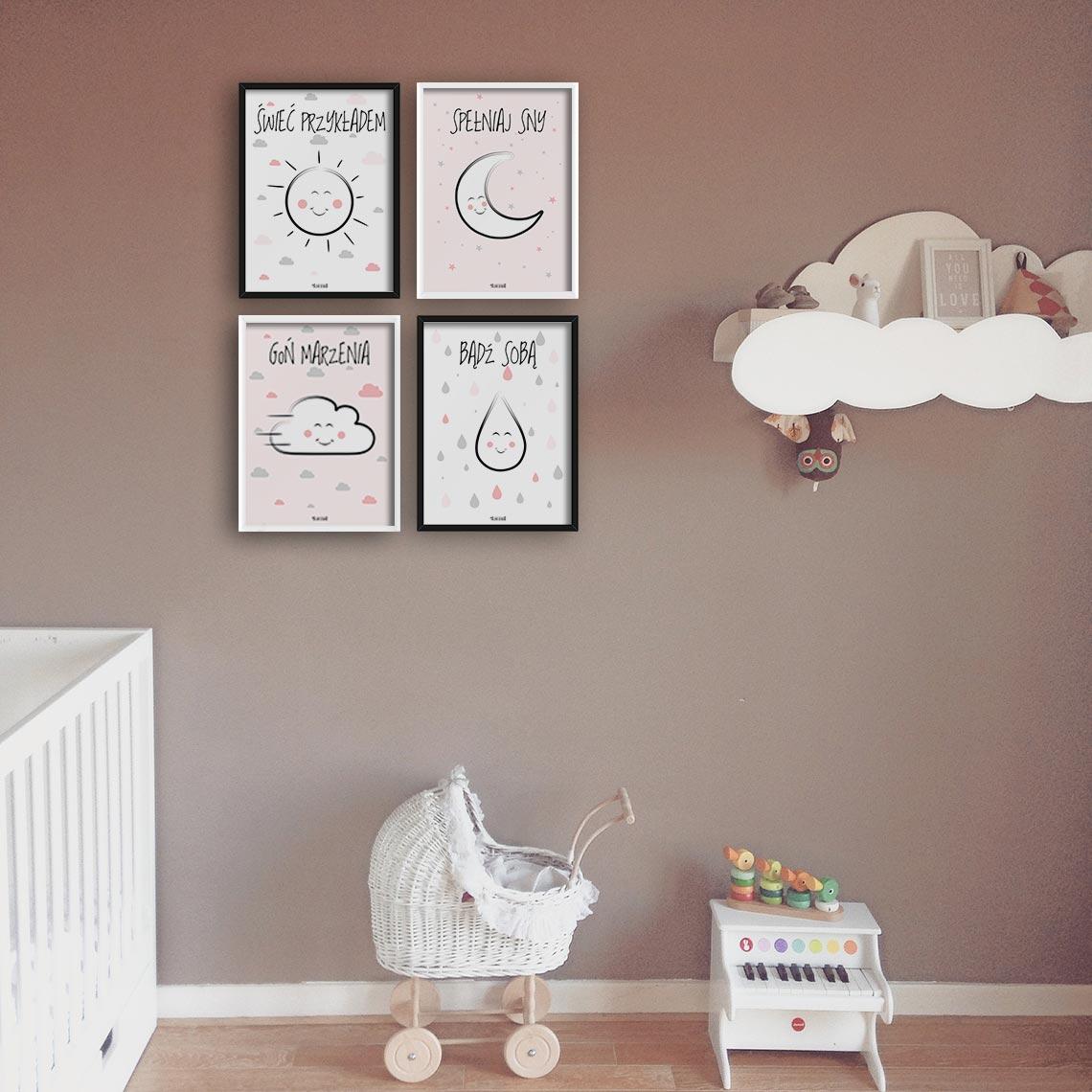 cztery plakaty do pokoju dziecka motywujące alovestudio pl