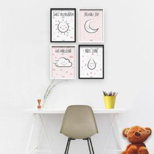 4 plakaty do pokoju dziecka dziewczynki świeć przykładem