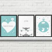 plakaty dekoracje do pokoju dziecięcego chłopca kocham Cię mocno a