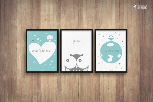 plakaty dekoracje do pokoju dziecięcego chłopca kocham Cię mocno b