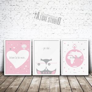 plakaty dekoracje do pokoju dziewczynki kocham Cię mocno alovestudio