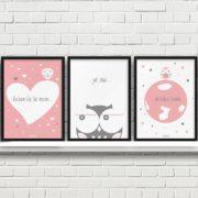 plakaty dekoracje do pokoju dziecięcego dziewczynki kocham Cię mocno a