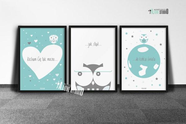 Plakaty dla dzieci dla chłopca kocham Cię mocno d