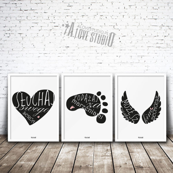 Plakaty dla dzieci do pokoju dziewczynki słuchaj serca alovestudio 1