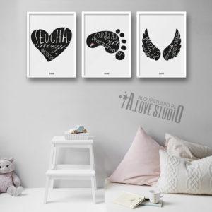 Plakaty dla dzieci do pokoju dziewczynki słuchaj serca alovestudio 2