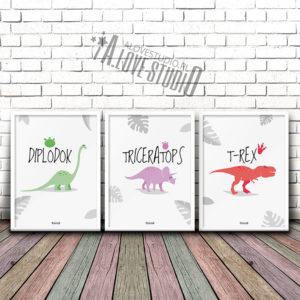 Plakaty dekoracje dla dzieci chłopca dinozaury 1