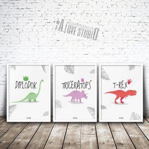 Plakaty dekoracje dla dzieci chłopca dinozaury 3
