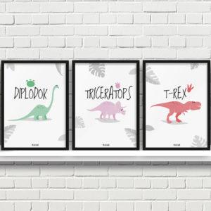 plakaty dekoracje do pokoju dziecięcego chłopca dinozaury a