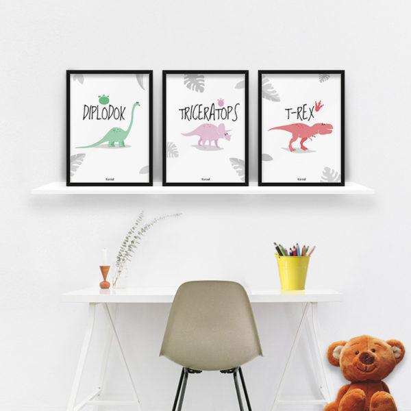 plakaty dekoracje do pokoju dziecięcego chłopca dinozaury b