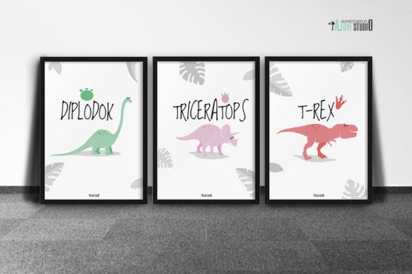 plakaty dekoracje do pokoju dziecięcego chłopca dinozaury d