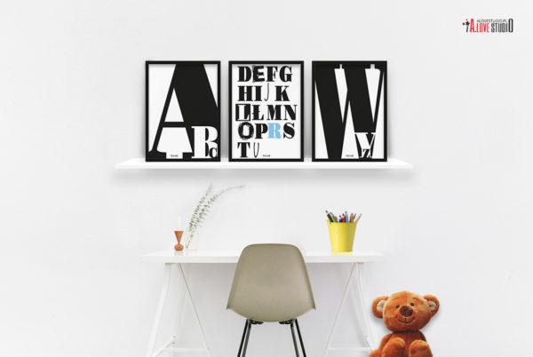 plakaty dekoracje do pokoju dziecięcego chłopca abecadło b