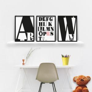 plakaty dekoracje do pokoju dziecięcego dziewczynki abecadło b
