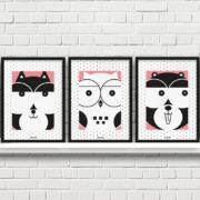 plakaty dekoracje dla dzieci dziewczynki lis sowa bóbr a