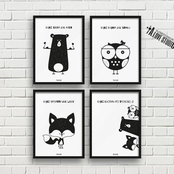 plakaty dla dzieci dekoracje pokój chłopca i dziewczynki miś sowa lis a