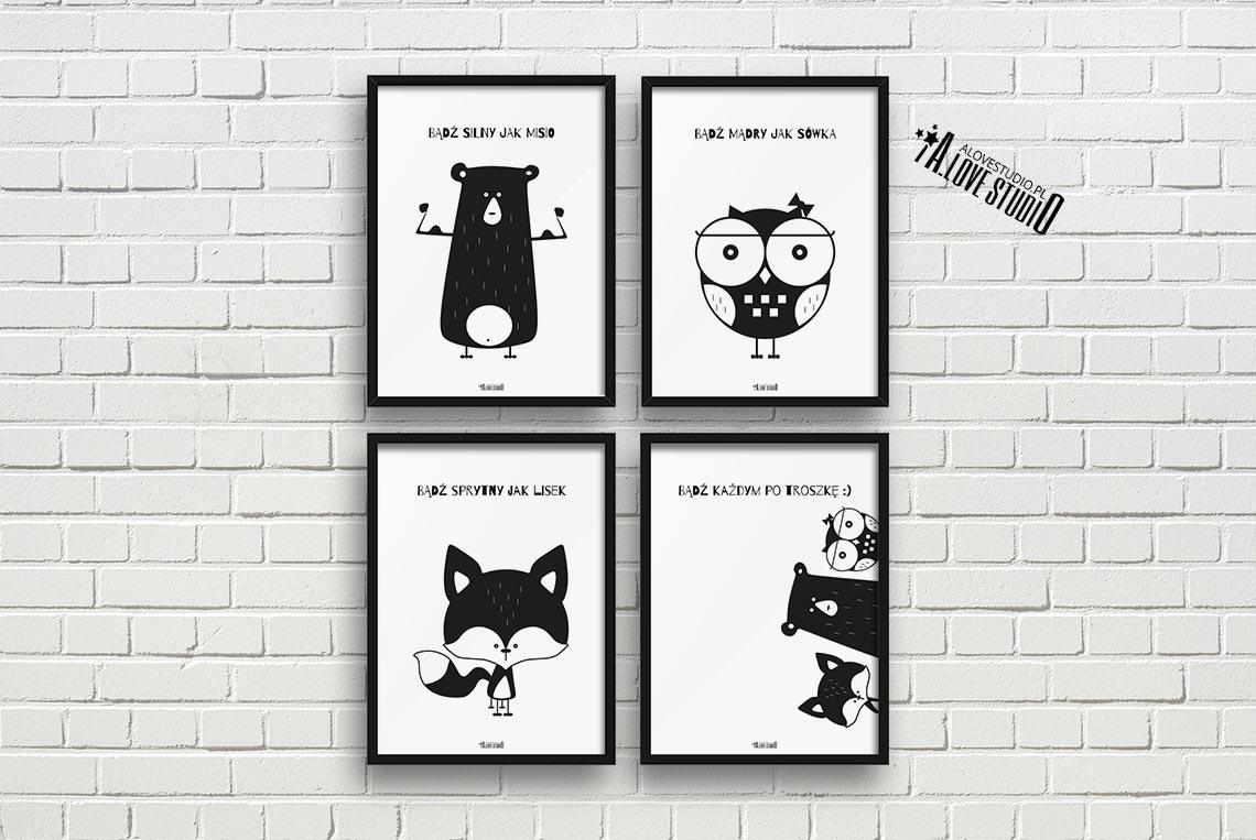 plakaty dla dzieci dekoracje pokj chopca i dziewczynki mi sowa lis a