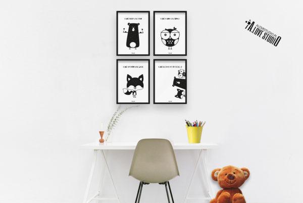 plakaty dla dzieci dekoracje pokój chłopca i dziewczynki miś sowa lis b
